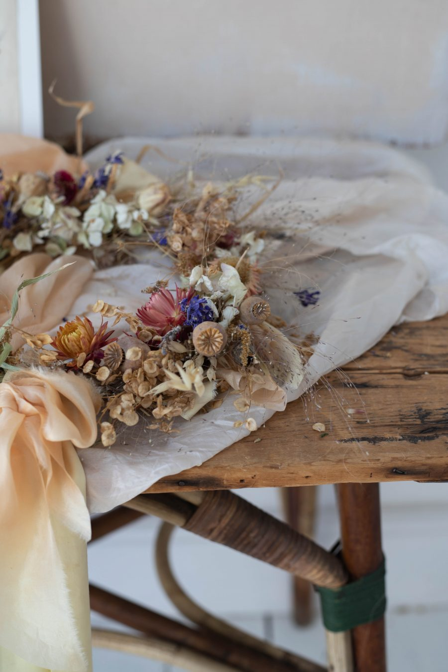 silk ribbon and dried flower wreath