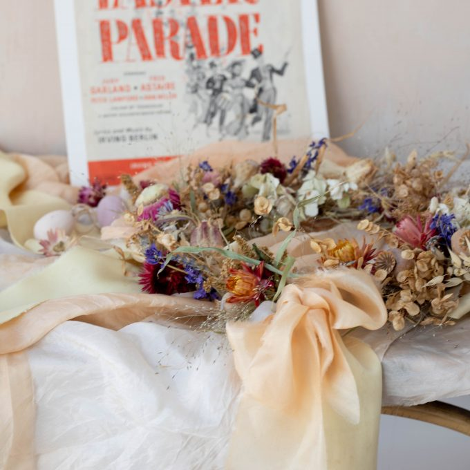 everlasting wreath with naturally dyed silk ribbon