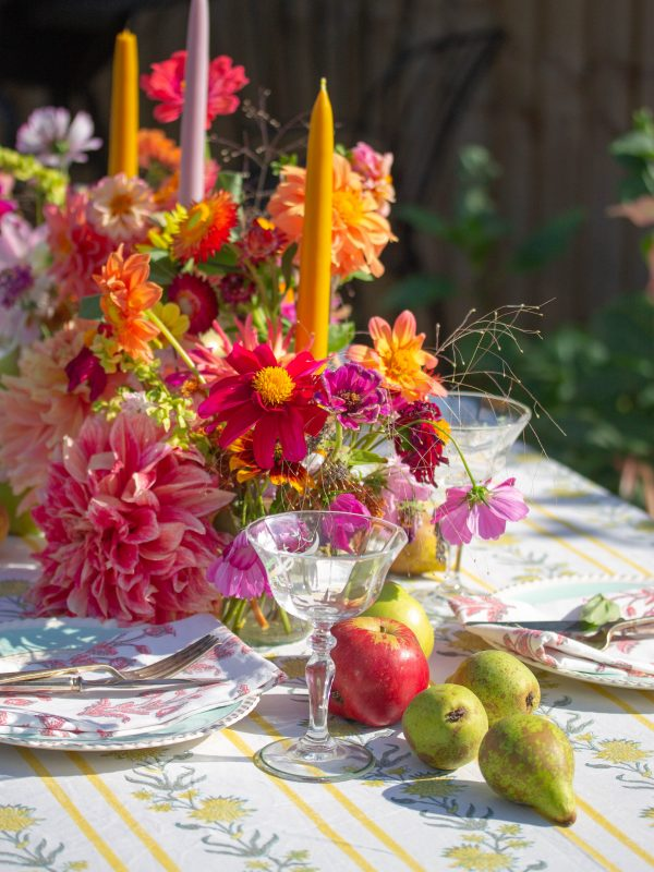 fruit and flower filled table