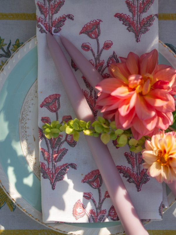 pink patterned tablecloth
