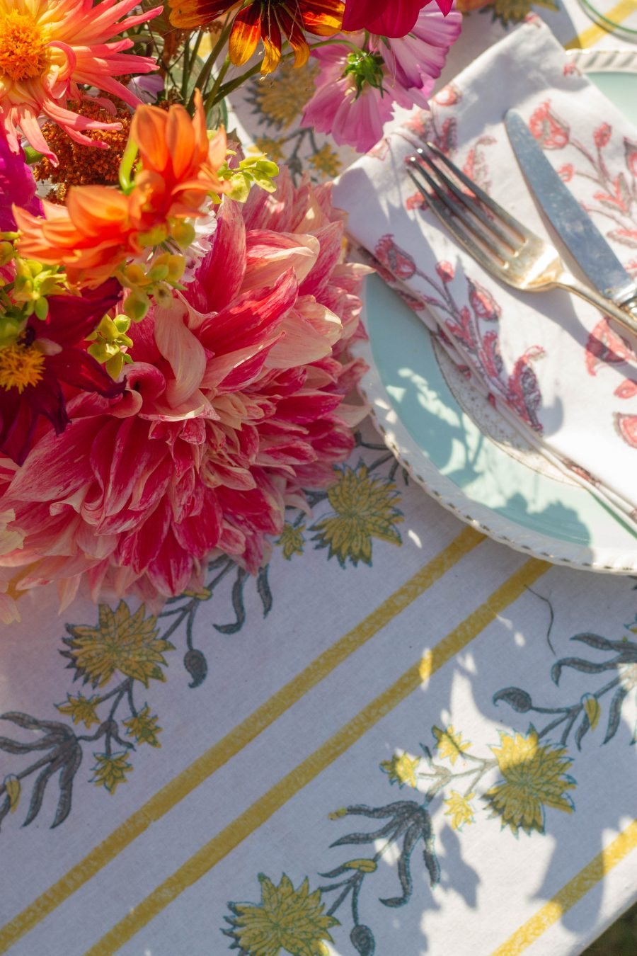 vintage plates and patterned table