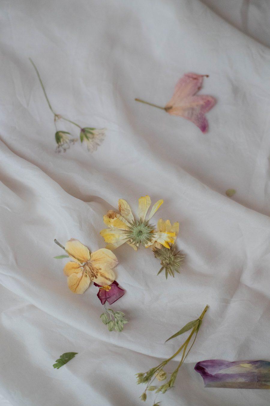 pressed flowers on silk