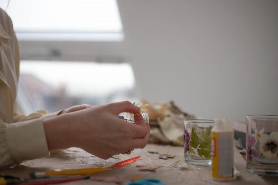 Making a DIY floral tealight holder