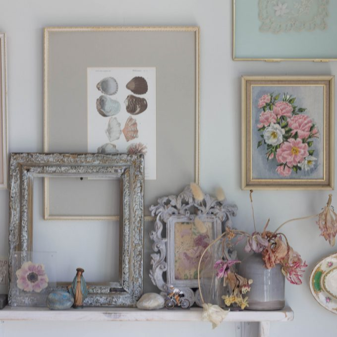 A gallery wall of vintage finds