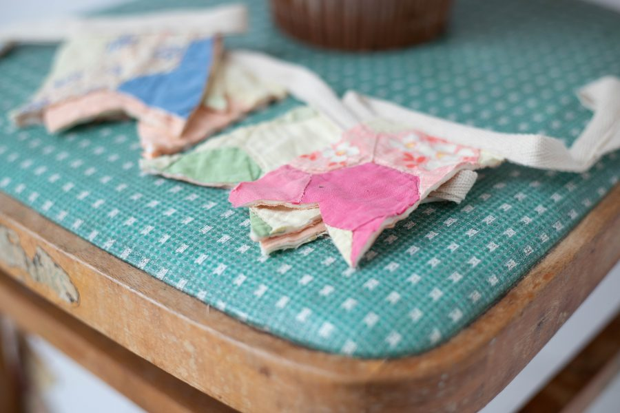 close up of vintage bunting