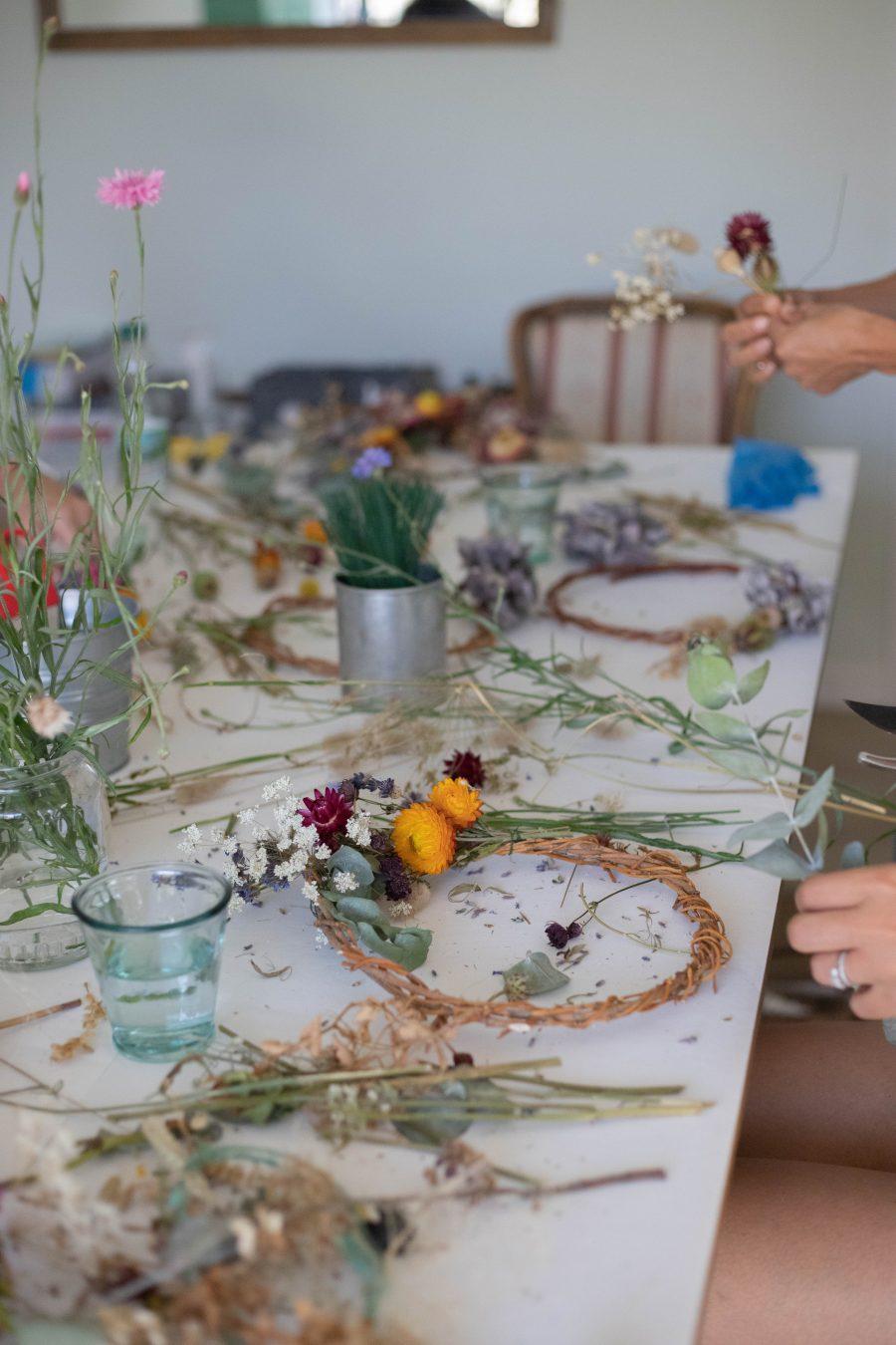 dried flower wreath workshop essex