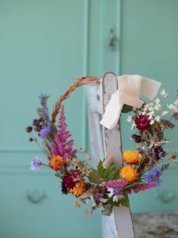 dried and fresh flower wreath