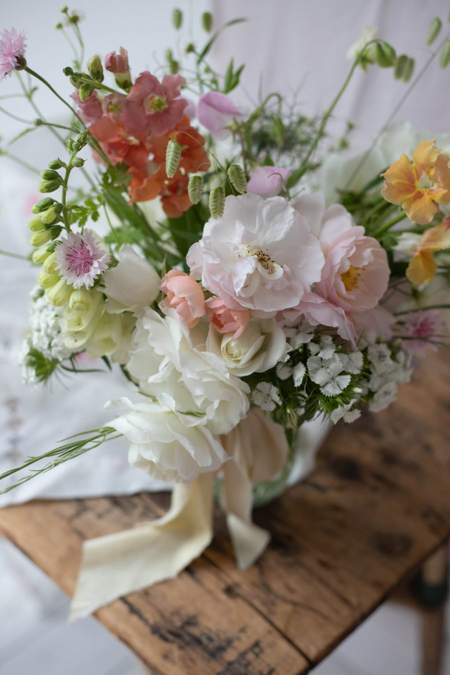 June flowers and silk ribbon