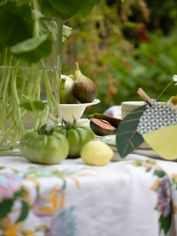 green tomatoes and nasturtiums
